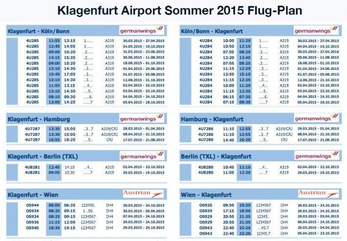 Klagenfurt Airport Flugplan 2015