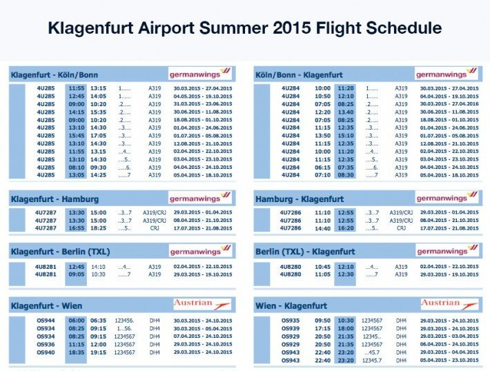 Flight Schedule Klagenfurt 2015
